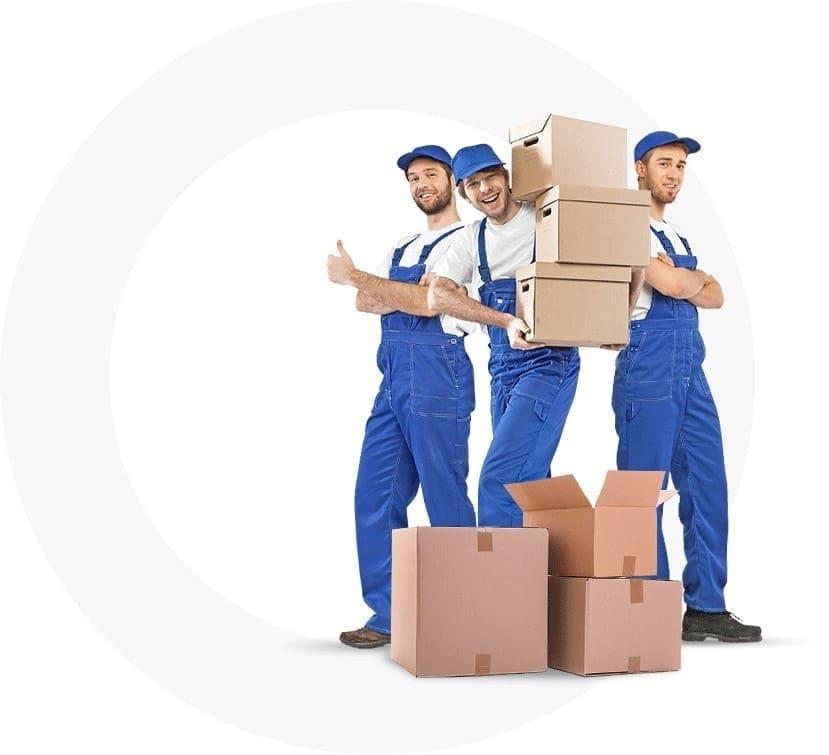 Три грузчика с коробками